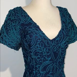Embroidered Dress in Green & Navy size 6 NWT